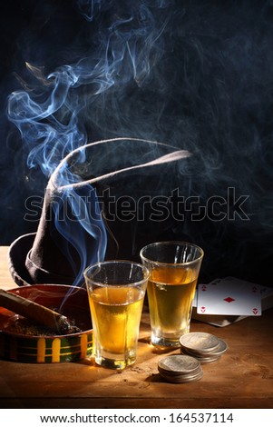 hat, glass of bourbon whiskey and cigar - stock photo