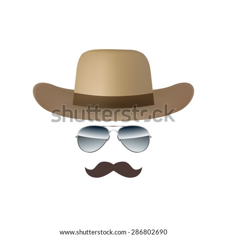 Hat Glasses and Mustache isolated on white background illustration - stock photo