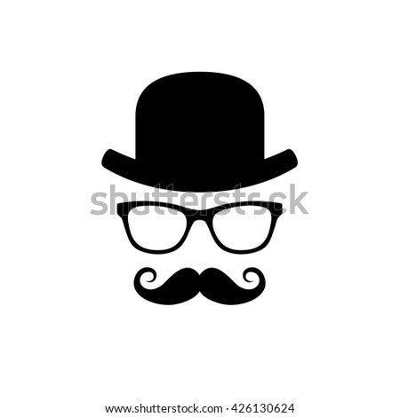Hat, Glasses and Mustache Set. illustration - stock photo