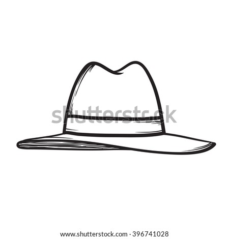 Hat icon hand drawn illustration black on white