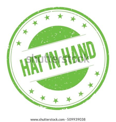 HAT-IN-HAND stamp sign text word logo green.
