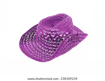 hat isolated on white background, cowboy hat purple color - stock photo