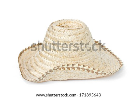 Hat made of palm leaf on white background.
