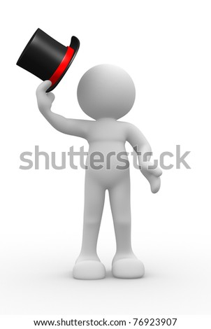 Hat man salute - 3d render people icon