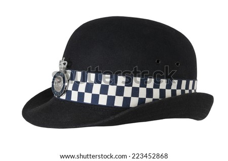 Hat of British police officer - stock photo