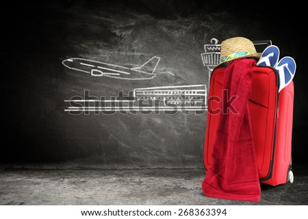 hat of summer time towel of red color and chlakboard  - stock photo