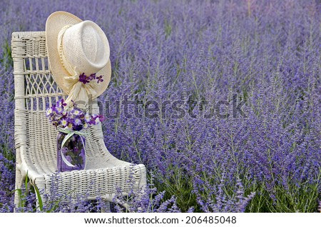 hat on wicker chair with jar of flowers in purple Russian sage field - stock photo