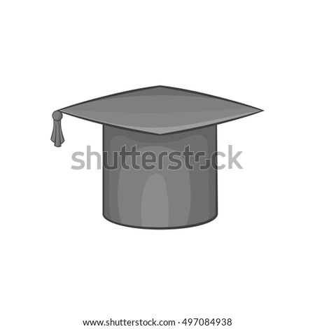 Hat student icon in black monochrome style isolated on white background. Headwear symbol  illustration