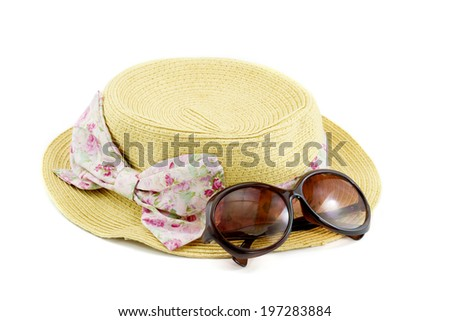 Hat , sunglasses, summer accessory isolated on white background