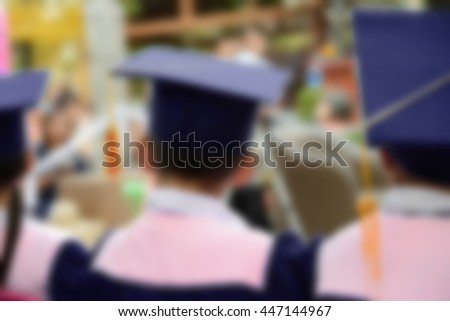 Hat The back of graduates,Concept blurred