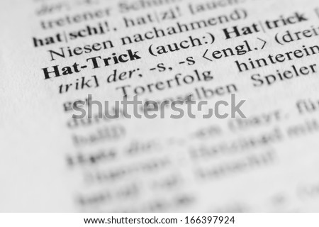 Hat-trick - word and explanation in German language/Hat-trick