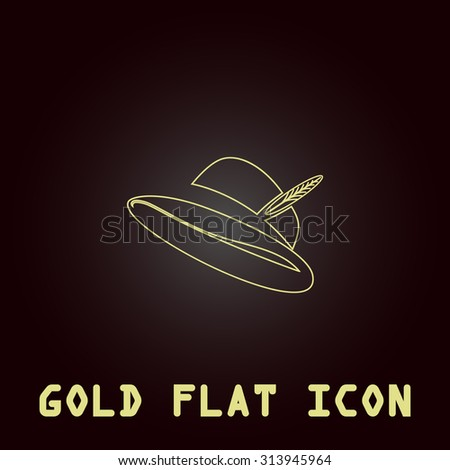 Hat with a feather. Outline gold flat pictogram on dark background with simple text. Illustration trend icon - stock photo