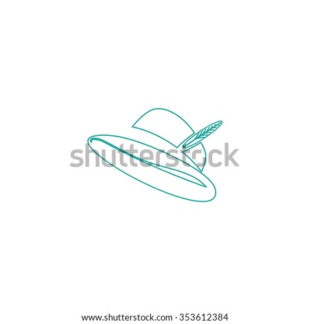 Hat with a feather. Outline symbol on white background. Simple line icon - stock photo