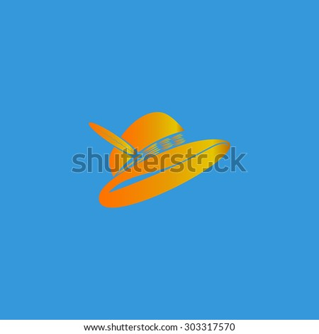 Hat with a feather. Simple flat icon on blue background - stock photo