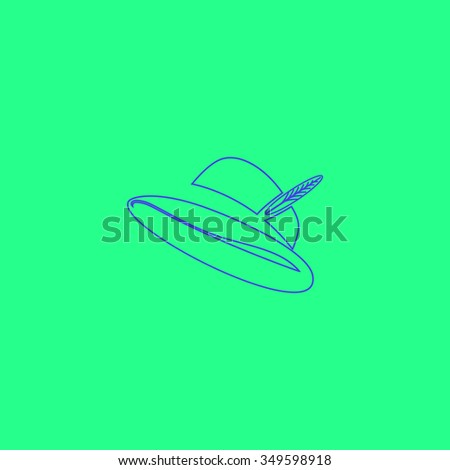 Hat with a feather. Simple outline illustration icon on green background - stock photo