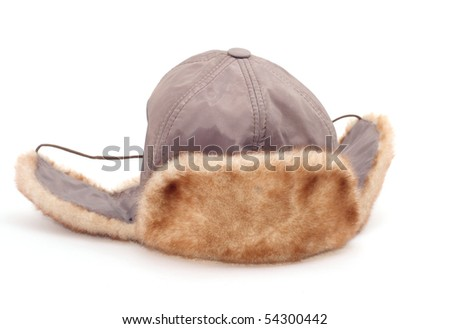 hat with ear-flaps isolated on white - stock photo