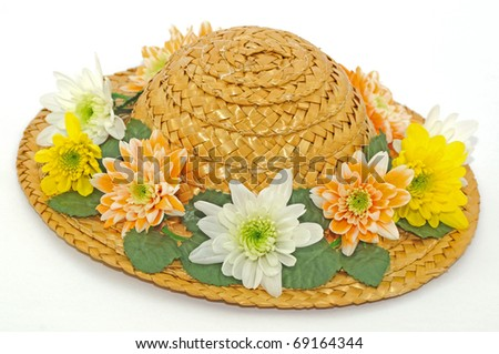 Hat with Fresh Flowers - stock photo