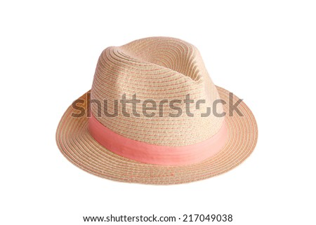 hat with pink ribbon, isolated