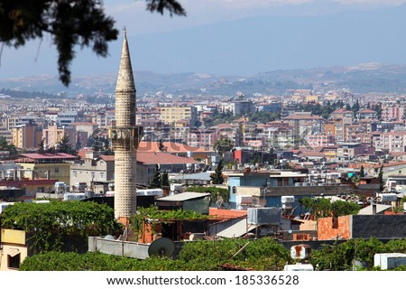 HATAY, TURKEY - AUGUST 21: Panoramic view of Hatay (Antakya) City on August 21, 2011 in Hatay, Turkey. Antakya is one of the most important tourism destinations in Turkey. - stock photo