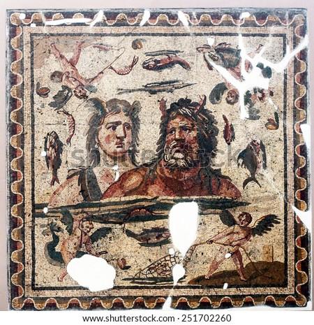 HATAY, TURKEY - AUGUST 22: Roman Mosaics at Hatay Archeology Museum in Antakya (Antioch), on August 22, 2011 in Hatay, Turkey. Hatay Archaeology Museum is houses great Roman and Byzantine Era mosaics. - stock photo