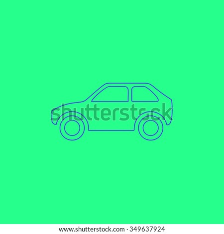 Hatchback Car. Simple outline illustration icon on green background