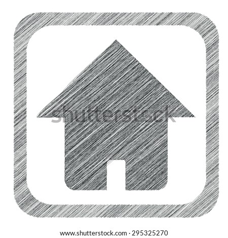 Hatched image of house in square, isolated on white - stock photo