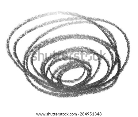 hatching spiral grunge graphite pencil texture isolated on white background - stock photo