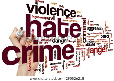 Hate crime word cloud concept - stock photo