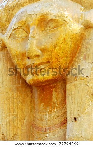 Hathor the cow headed god of fertility in the new kingdom mortuary temple of Queen Hatshepsut at Thebes in Egypt - stock photo