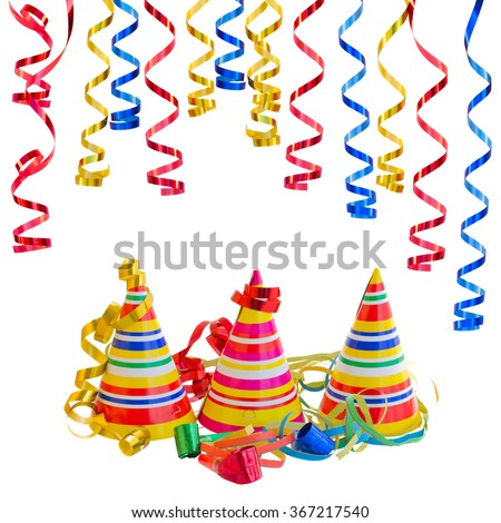 Hats and Serpentine for carnival  isolated on white background - stock photo
