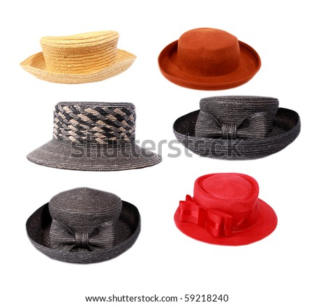 Hats on white - stock photo