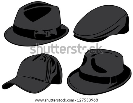 Hats. Raster version, vector file available in portfolio. - stock photo