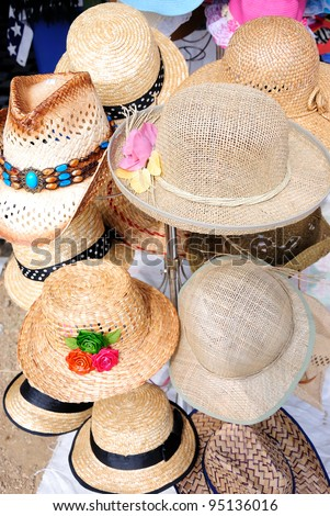 Hats showcase perspective market shop - stock photo