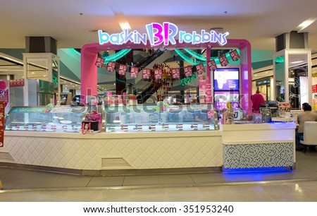 HATYAI, THAILAND - DECEMBER 8 : Exterior view of Baskin Robbins Ice cream shop on December 8, 2015 in Hatyai, Thailand. It is the world's largest chain of ice cream speciality shop founded in 1945.