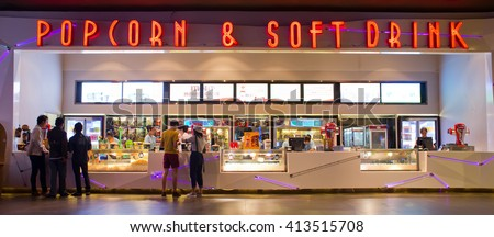 HATYAI, THAILAND - DECEMBER 12 : View of Popcorn and Soft Drink Shop of Hatyai Cineplex on December 12, 2014 in Hatyai, Thailand. Hatyai Cineplex is the largest movie theatre in Hatyai, Thailand.