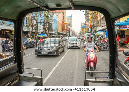 Hatyai, Thailand - 3 September 2015: Tuk Tuk ride point of view in the streets of Hatyai, Southern Thailand.