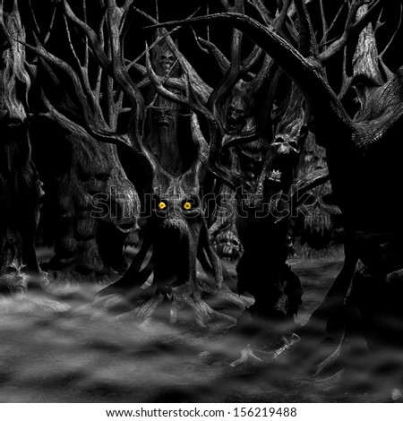 Haunted Forest - a forest of twisted, disturbed, tormented and evil trees.  Black and white with fiery eyes. Happy Halloween. - stock photo