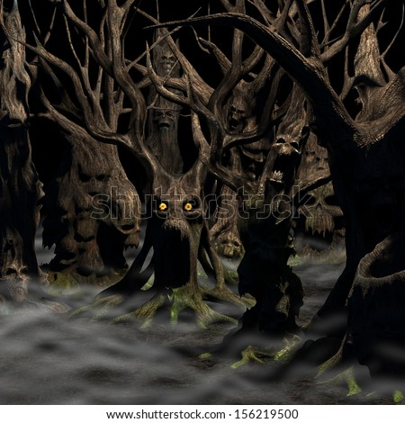 Haunted Forest - a forest of twisted, disturbed, tormented and evil trees on a foggy night.  Happy Halloween. - stock photo