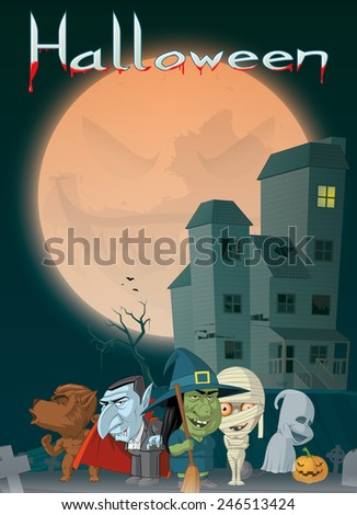 Haunted house and monsters at Halloween - stock photo