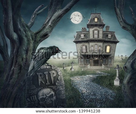 Haunted house and spooky graveyard - stock photo