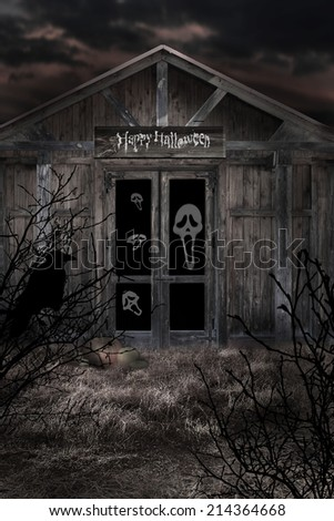 Haunted house in halloween time - stock photo