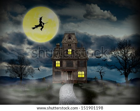 Haunted House with bats, grave yard, witch and full moon. Scary old house good for use in Halloween or horror projects.
