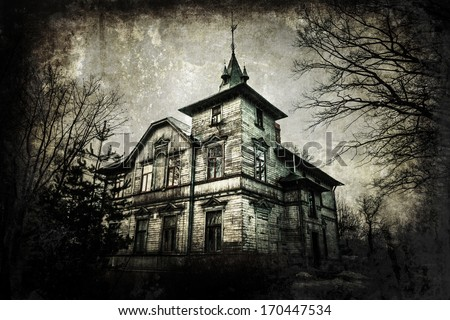 haunted house with dark grunge texture - stock photo