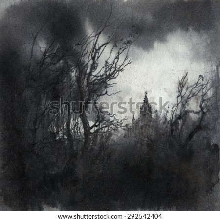 Haunted landscape - stock photo