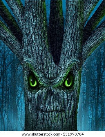 Haunted tree with a mythical dark forest and an evil plant shaped as a demon spirit skull face as a halloween or ghost related concept of monsters and imaginary creatures from folklore. - stock photo