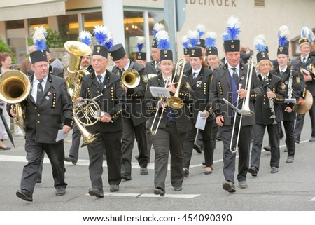 Hausham, Germany - July 17, 2016: Miners with Knappenkapelle Marienstein the pageant in Hausham / Germany