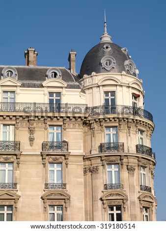 Haussmann Facade, Paris - stock photo