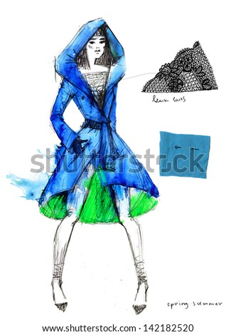 Haute couture. A sketch of a fashion model. - stock photo