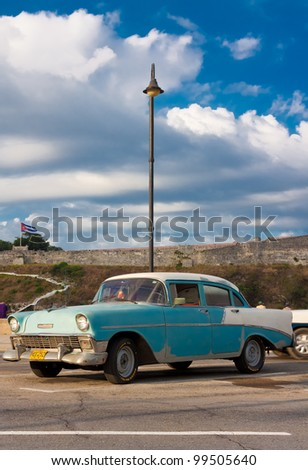HAVANA-APRIL 6:Classic Chevrolet parked in the Malecon Avenue April 6, 2012 in Havana.Before a new law issued on October 2011, Cubans could only trade cars that were on the road before 1959 - stock photo