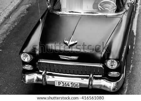 HAVANA - APRIL 28: Old colourful car on the streets of Havana, Cuba on April 28, 2016 - stock photo
